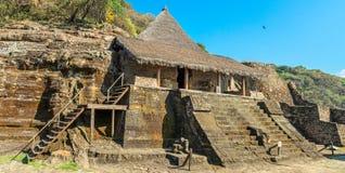 废墟在Malinalco,考古学站点在墨西哥 图库摄影
