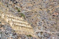 废墟在Ollantaytambo,秘鲁 免版税库存照片