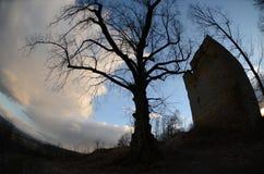 废墟城堡straufhain 库存照片