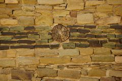 废墟的墙壁在阿兹台克国家历史文物的 免版税库存图片