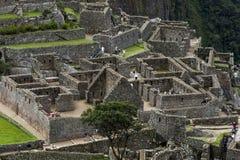 废墟的部分在马丘比丘的在秘鲁 库存照片