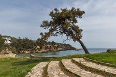 废墟看法在Aliki, Thassos海岛、东部马其顿和色雷斯,希腊考古学站点  库存照片