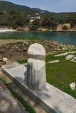 废墟看法在Aliki, Thassos海岛、东部马其顿和色雷斯,希腊考古学站点  库存图片
