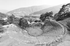 废墟石头和剧院安塔利亚arykanda火鸡亚洲天空的a 库存照片