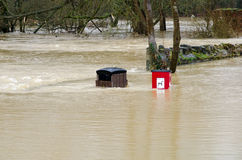 废弃物,在洪水的垃圾桶 图库摄影