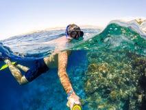 废气管在浅水区,红海,埃及游泳 免版税库存照片