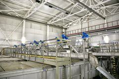 废水处理厂 过滤污水处理的设备从坚实杂质 免版税库存图片