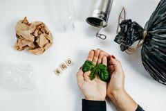 废物管理概念 有绿色叶子和garbag的妇女手 免版税图库摄影