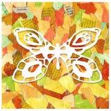 废纸抽象背景拼贴画与蝴蝶的图象的 印刷品,包裹,样式,封皮设计, 免版税库存图片