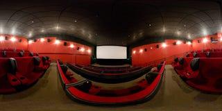360度一个现代戏院大厅的充分的全景 库存照片