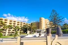 度假旅馆在海滨城镇纳布勒里 突尼斯,北非 免版税图库摄影