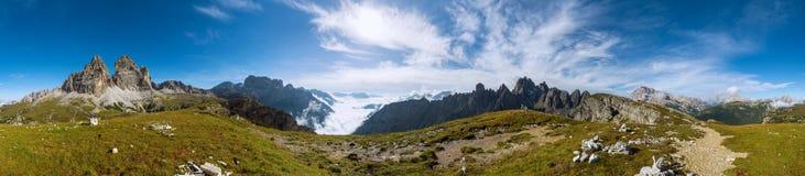 360度全景被射击Dolomits 免版税库存照片