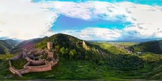 360度全景鸟瞰图从寄生虫到孚日省山 图库摄影