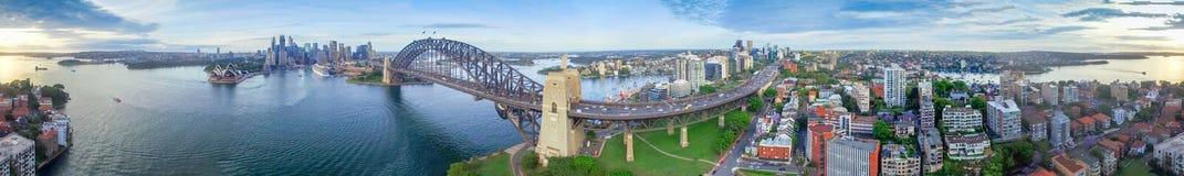 360度悉尼港口空中全景  免版税库存照片