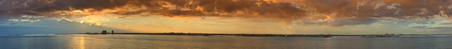拿骚,巴哈马270度全景  免版税库存图片