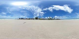 360度球状全景Bangsak海滩Khao Lak攀牙p 库存照片