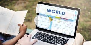 经度纬度世界绘图概念 免版税库存照片