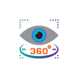 360度视图标志 注视传染媒介象,坚实商标例证,在白色隔绝的图表 库存例证