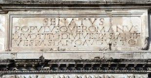 座右铭populusque romanus罗马s senatus 免版税图库摄影