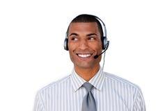 座席客户服务部微笑的年轻人 库存图片
