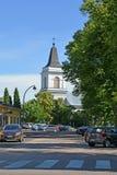 19座钟楼c教会芬兰hamina保罗・彼得st 玛丽亚路德教会的圣徒教会的看法  免版税库存照片