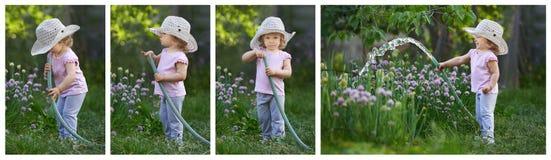 庭院一个小孩的惊奇故事 库存照片