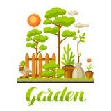 庭院与植物的风景例证 季节从事园艺的概念 皇族释放例证