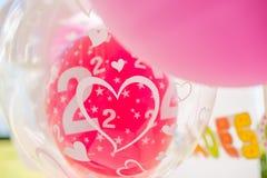 庭院与气球的生日聚会装饰 库存照片