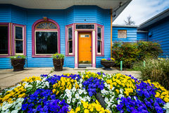 庭院和房子在登上华盛顿村庄,巴尔的摩, Marylan 图库摄影
