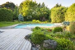 庭院和游泳池在后院 免版税图库摄影