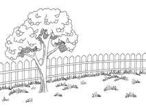 庭院图表黑白色风景苹果树剪影例证传染媒介 免版税库存图片