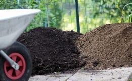 庭院土壤的不同的类型 库存图片