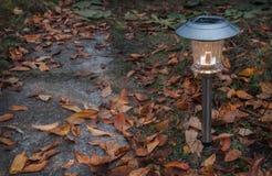 庭院在秋天供给动力的灯太阳 免版税库存图片