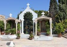 庭院在耶稣的第一个奇迹, Kefar Cana,以色列教会里  库存照片