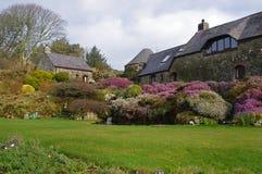 庭院在Ffald-y-Brenin撤退中心在冬天 库存照片
