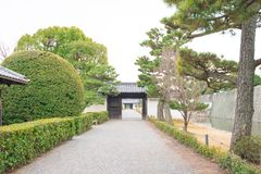 庭院在Nijo城堡的Ninomaru宫殿在京都 免版税库存图片
