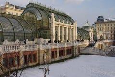 庭院多雪的维也纳冬天 免版税图库摄影