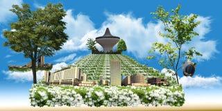 庭院展望期吉达玫瑰色视图 免版税库存照片
