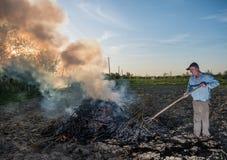 庭院工作 农夫燃烧干分支 免版税库存图片