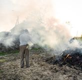 庭院工作 农夫燃烧干分支 图库摄影