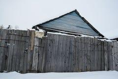 庭院房子在冬天 免版税库存图片
