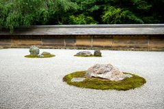 庭院日本京都岩石禅宗 免版税库存图片