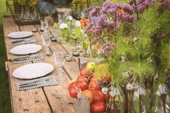 庭院晚餐设定 免版税库存照片