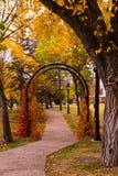 庭院曲拱在秋天 免版税库存照片