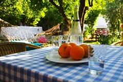 庭院桌用桔子和水在夏天 免版税库存图片