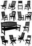 庭院椅子和长凳剪影的汇集 免版税库存图片