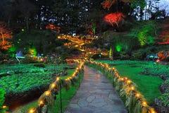 庭院照明设备晚上 免版税图库摄影