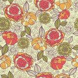 庭院牡丹花和叶子无缝的样式 免版税库存照片