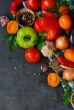 从庭院的各种各样的新鲜蔬菜 免版税库存图片
