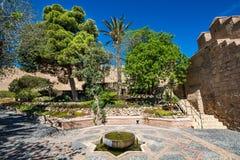 庭院看法阿尔梅里雅& x28的; AlmerÃa& x29;城堡& x28; Almeria& x29 Alcazaba; 库存图片